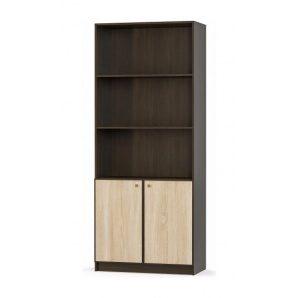 Стеллаж Мебель-Сервис Фантазия 2Д 2160х899х434 мм венге темный/дуб самоа