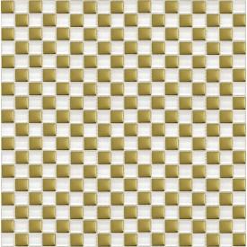 Мозаика шахматка 30х30 см белый-золото (413)