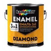 Эмаль антикоррозионная Kompozit DIAMOND 3в1 2,5 л серебристый