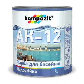 Краска для бассейнов Kompozit АК-12 полуматовая 0,9 л голубой