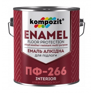 Эмаль для пола Kompozit ПФ-266 0,9 кг красно-коричневый