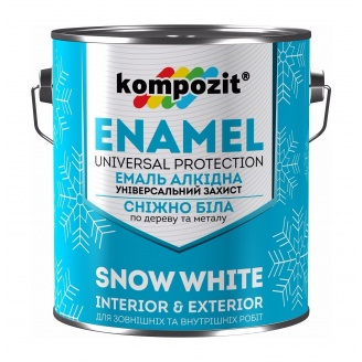 Эмаль алкидная универсальная Kompozit матовая 2,8 л снежно-белый