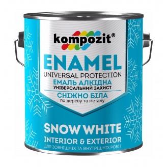 Эмаль алкидная универсальная Kompozit глянцевая 2,8 л снежно-белый