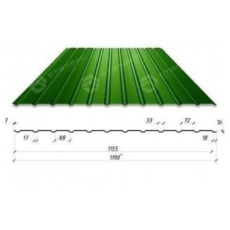 Профнастил Сталекс С-12 1190/1155 мм 0,4 мм PE Китай (RAL6005/зеленый мох)