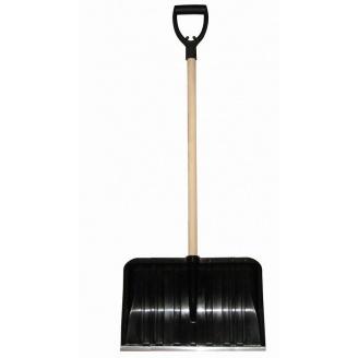 Лопата для прибирання снігу Snow pusher з дерев'яним держаком 50x141 см чорна