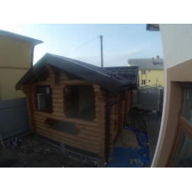 Дачный домик из оцилиндрованного бревна 3х7 м