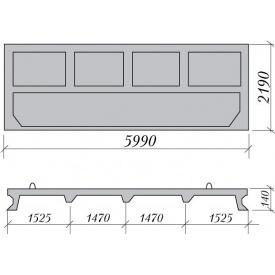 Панель ограждения железобетонная ОПП-22 5,99x0,16x2,19 м