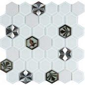 Мозаика мрамор стекло VIVACER SB10, 4,8х5,5 cм