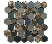 Мозаика мрамор стекло VIVACER SB04, 4,8х5,5 cм