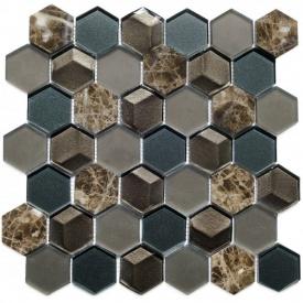 Мозаїка мармур скло VIVACER SB04, 4,8х5,5 см