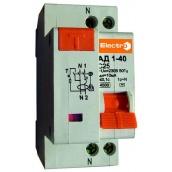 Диференційний автоматичний вимикач ElectrO АД1-40 1Р+N 40 30 мА 4,5 кА