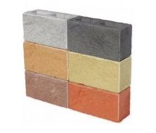 Колотый блок ЕКО 350х190х140 мм бордовый на сером цементе