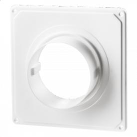 Фланець монтажний з пластиною Домовент ДФК 100 пластик 34х185х185 мм білий