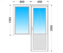 Балконный Блок OPEN TECK Standard 60 с двухкамерным энергосберегающим стеклопакетом 650x2000 мм