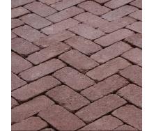 Тротуарная плитка Золотой Мандарин Кирпич Антик 200х100х60 мм на сером цементе бордовый