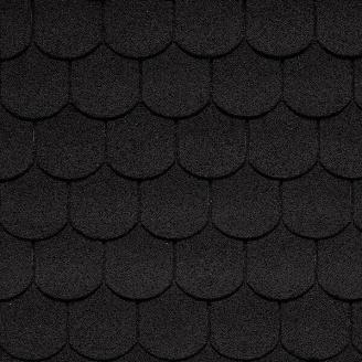 Битумная черепица IKO Superglass-Biber 336х1000 мм 02 Sparking Black
