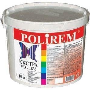Краска для внутренних работ Polirem VD-1835 Экстра 10 л белая