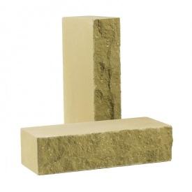 Кирпич облицовочный рваный камень Скала 250х100х65 мм желтый