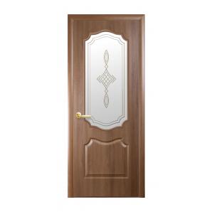Двері міжкімнатні Новий Стиль ФОРТІС Вензель зі склом і малюнком 900х2000 мм вільха золота