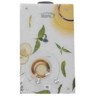 Газовий проточний водонагрівач Martix 20 кВт 10 л/хв принт білий чай скло