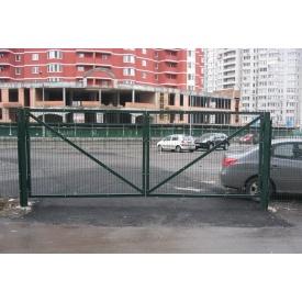 Ворота зеленые распашные из сварной сетки
