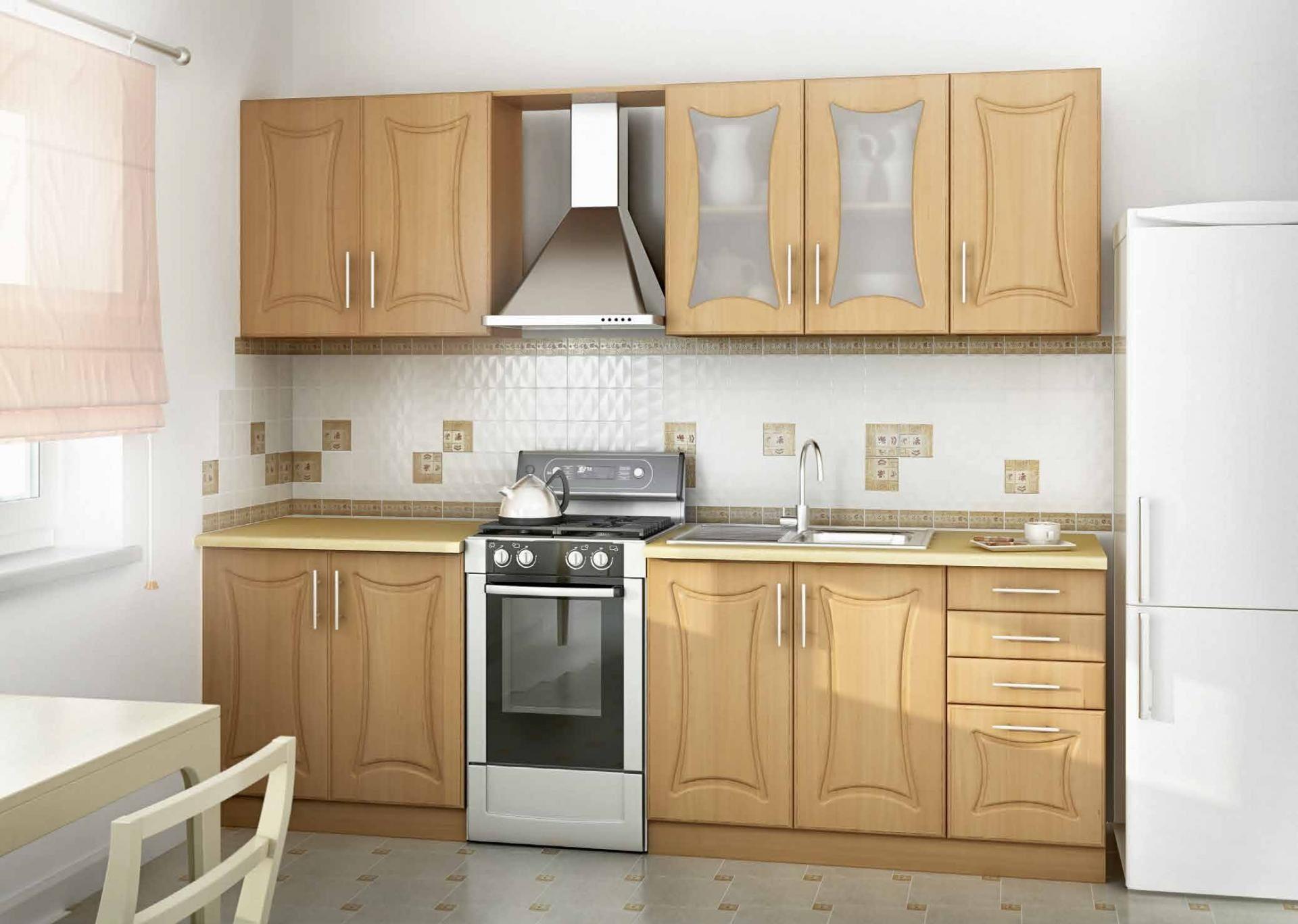 Прямая кухня заказная в цвете орех - вариант 033
