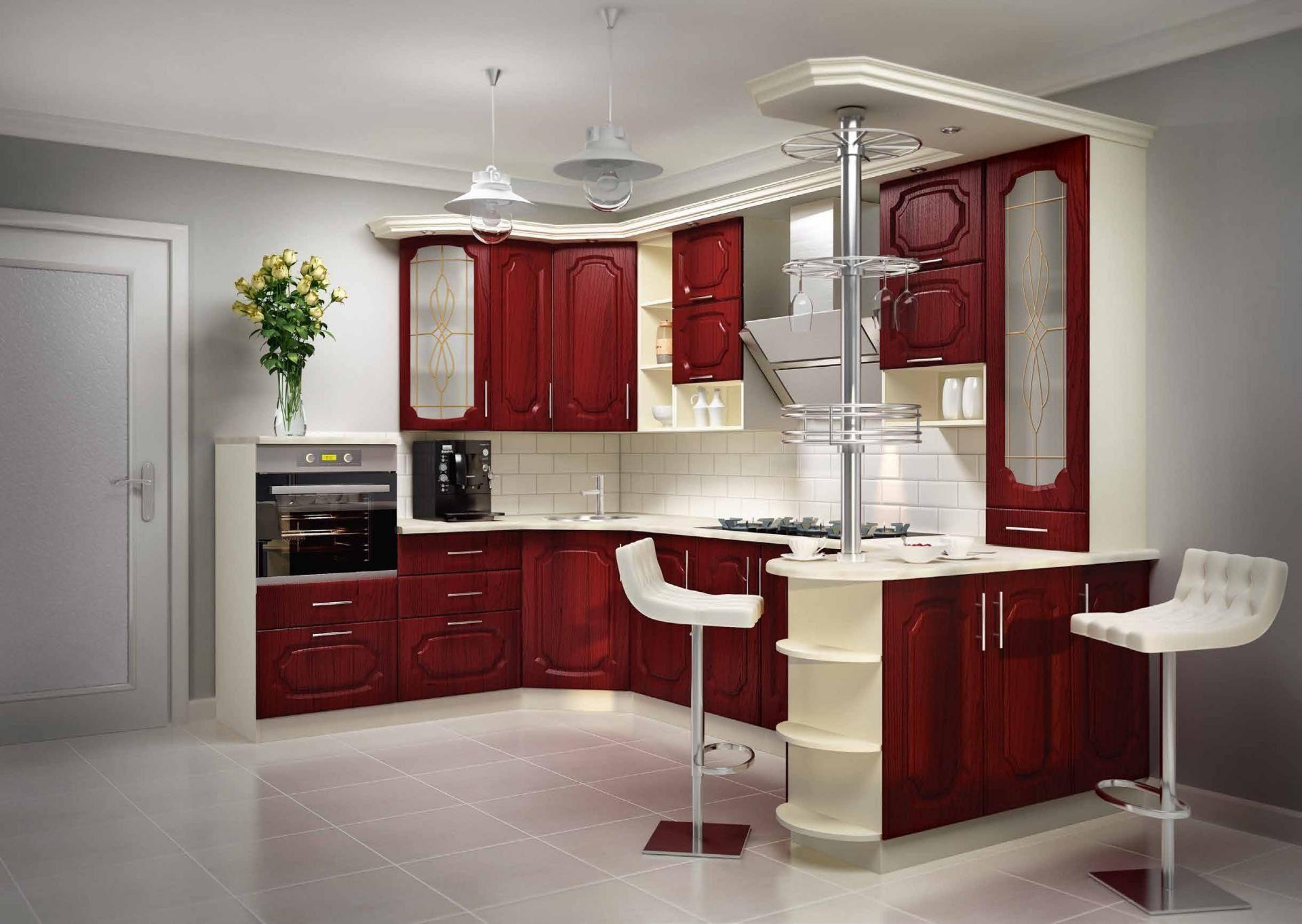 П-образная бордовая кухня мдф - вариант-001