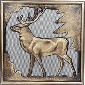Каминная решетка Kratki Олень 300х300 мм золотой