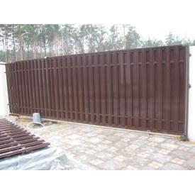Ворота відкатні з зашивкою з штакетного профілю 0,5 мм 115 мм