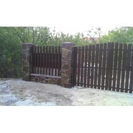 Ворота с зашивкой из штакетного профиля 0,5 мм 115 мм