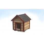 Будка для середньої собаки M утеплена двосхилий блокхауз сосна 60x75x95 см