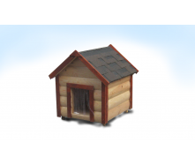 Будка для средней собаки M утепленная двускатная блокхауз сосна 60х75х95 см