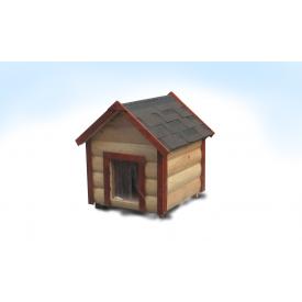 Будка для середньої собаки M утеплена двосхилий блокхауз сосна 60х75х95 см