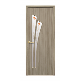 Двери межкомнатные Новый Стиль МОДЕРН Лилия с стеклом и рисунком 600х2000 мм сандал