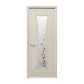 Двері міжкімнатні Новий Стиль МОДЕРН Годинник зі склом і малюнком 600х2000 мм дуб перлинний