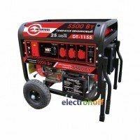 Генератор бензиновый мощность 6/5,5 кВт 13 л с 4-х тактный электрический и ручной пуск комплект колес и ручек 96 кг DT-1155 Intertool