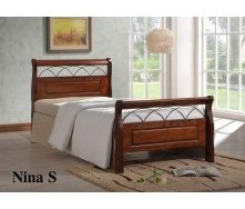 Кровать ONDER MEBLI Nina S 900х2000 мм античное золото/орех