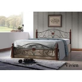 Кровать ONDER MEBLI Vivien 1400х2000 мм античное золото/орех