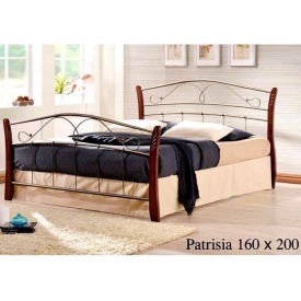 Кровать ONDER MEBLI Patrisia 1600х2000 мм античное золото/орех