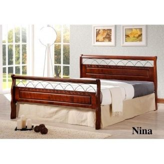 Кровать ONDER MEBLI Nina 1200х2000 мм античное золото/орех