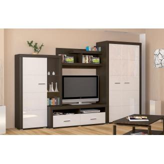 Гостиная Мебель-Сервис Неон-2 3400х590х2180 мм венге темный/белый