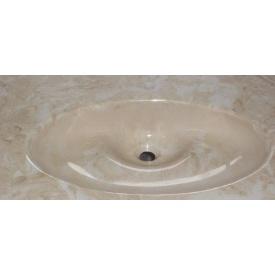 Стільниця індивідуальна у ванну кімнату суцільнолита з чашею Одрі 600х330 мм 130 мм