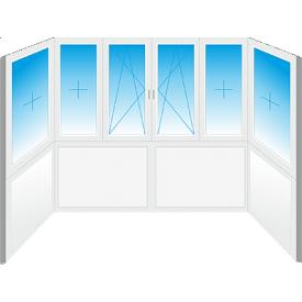 Французское остекление П-образного балкона Konkord Classic