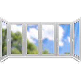 Остекление П-образного балкона Konkord Classic