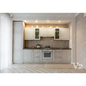 Кухня прямая МДФ-белый под заказ индивидуальный гарнитур V2