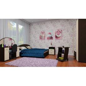 Модульна спальня Компаніт 5 шт двомісний набір дсп венге