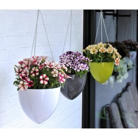 Кашпо для квітів SkyHanger пластик 20 на ланцюжку білий