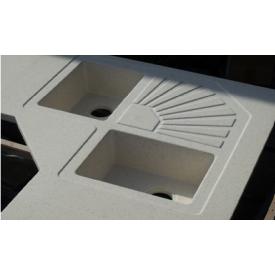 Стільниця індивідуальна на кухню суцільнолита з мийкою номер 3 400х260х195 мм з литого каменю