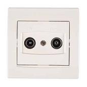 Розетка TV/R-SAT Schneider Electric Anya AYA3400223 прохідна із затуханням 81,5х81,5х40 мм кремовий