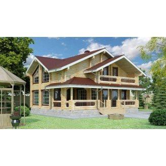 Строительство дома из оцилиндрованного бревна 9х10 м